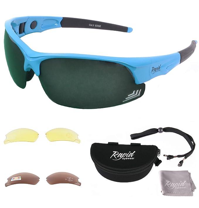 Rapid Eyewear 'Edge' Rot POLARISIERTE GOLFBRILLE Mit Wechselgläser x 3. Für Herren und Damen. Golf Sonnenbrille Mit Blendschutz UV 400 Gläsern Y7k9nVEvt