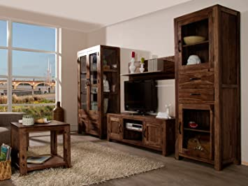 Wohnwand Holz Dunkel