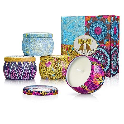 Q&BDiffer Set de Regalo Velas perfumadas, 4 Pack Cera de ...