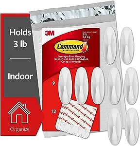 Command Medium Designer Hooks Value Pack, 9 Hooks & 12 Strips, GP081-9NA,White