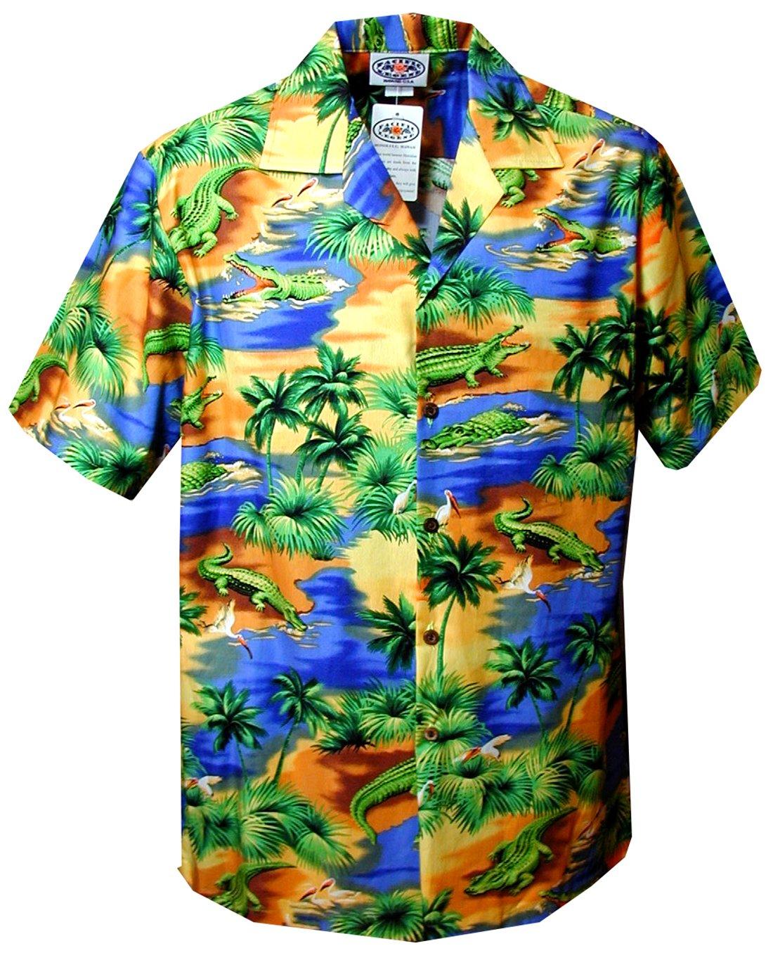 Pacific Legend Boys Florida Alligator Lagoon Shirt BLUE XL