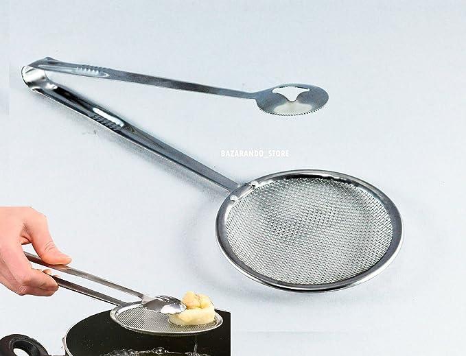 VERA IDEA Pinza con colador para freír Perforada a Retina Pala Scola Fried Pinza: Amazon.es: Hogar