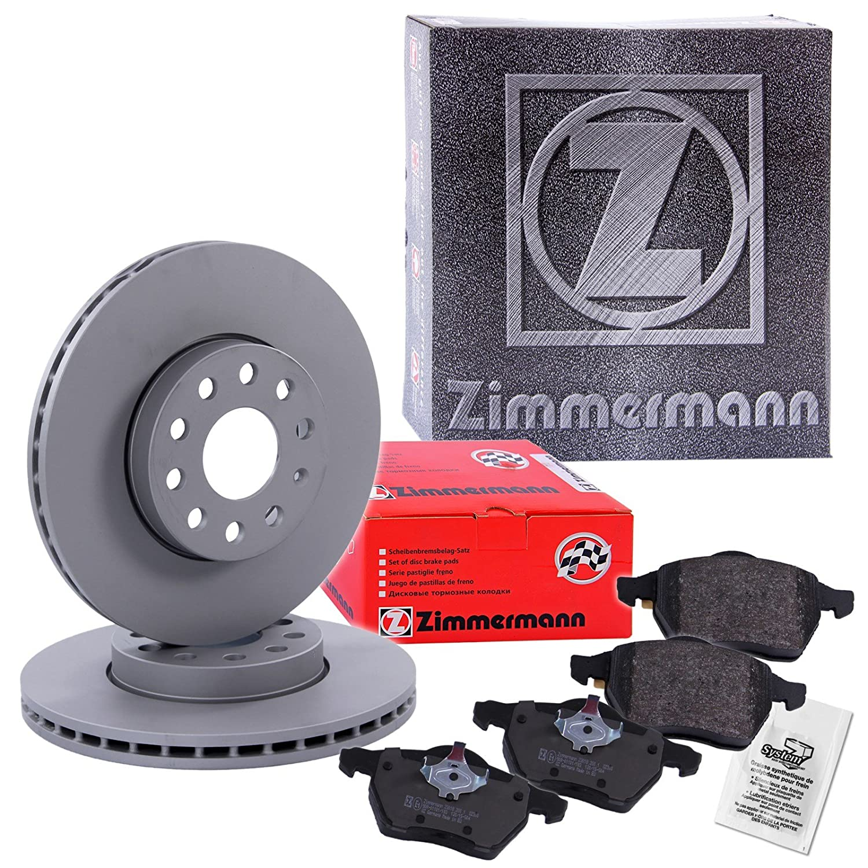 ORIGINAL ZIMMERMANN Bremsscheiben Belüftet Ø 256mm + Bremsbeläge Bremsklötze vorne
