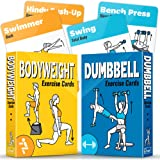 GRAND BASICS 2-Pack Bodyweight & Dumbbell Workout Cards – Perfect Large Size Exercise Cards Deck for Home or Travel…