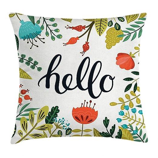 Krooe Hello Throw Pillow Funda de cojín, Pincel con Letras ...