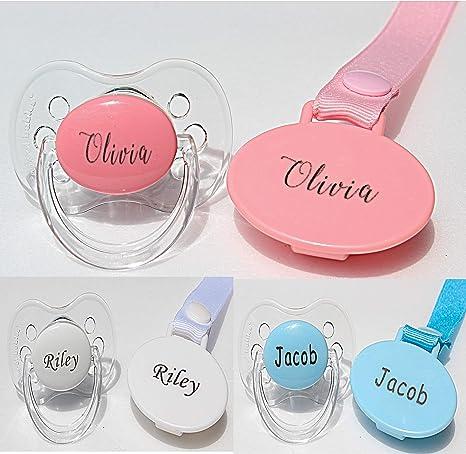 Chupete personalizado con nombre, 0 – 6 meses y 6 – 18 meses, chupete grabado, puede ser esterilizado, regalo personalizado para bebé niña, Rosado, 6-18 Meses: Amazon.es: Bebé