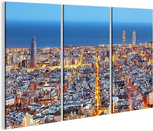 islandburner de imágenes sobre lienzo SKYLINE de Barcelona, aire grabación durante la noche, España – cuadro de lienzo Póster, 130x80 3-teilig: Amazon.es: Juguetes y juegos