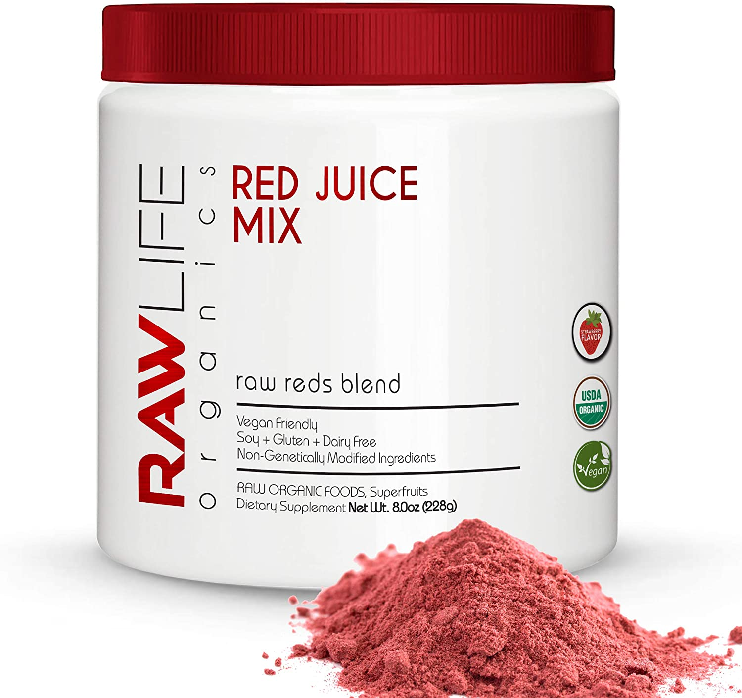Raw Life Organics Reds Juice Powder - 30 Day Supply - Delicious Super Food with Antioxidants - Increase Vibrance - Gain Maximum Performance - Immunity Support