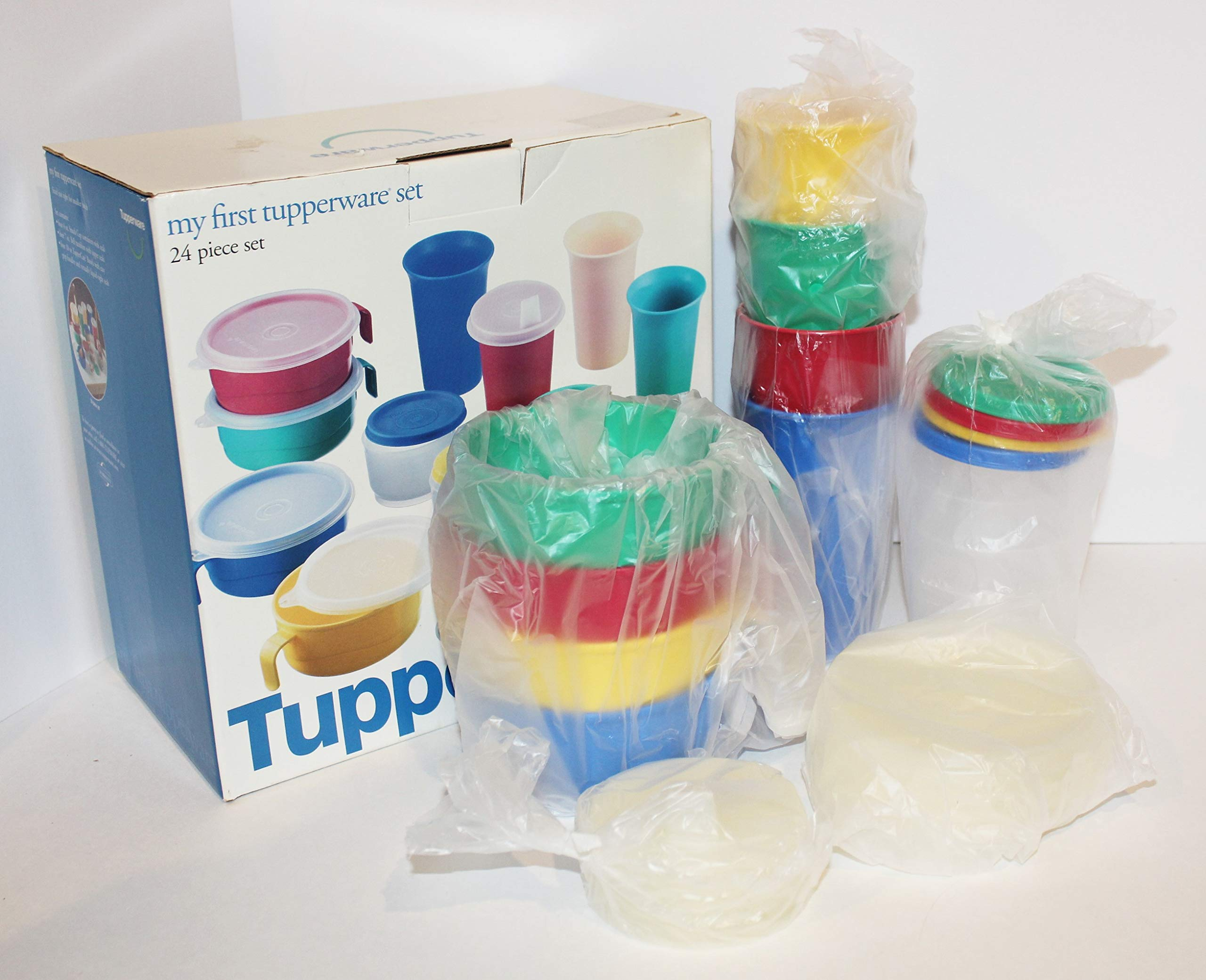 My First Tupperware 24 Piece Set With Bell Tumblers, Flat Sipper Seals, Handled Bowls and Snack Cups
