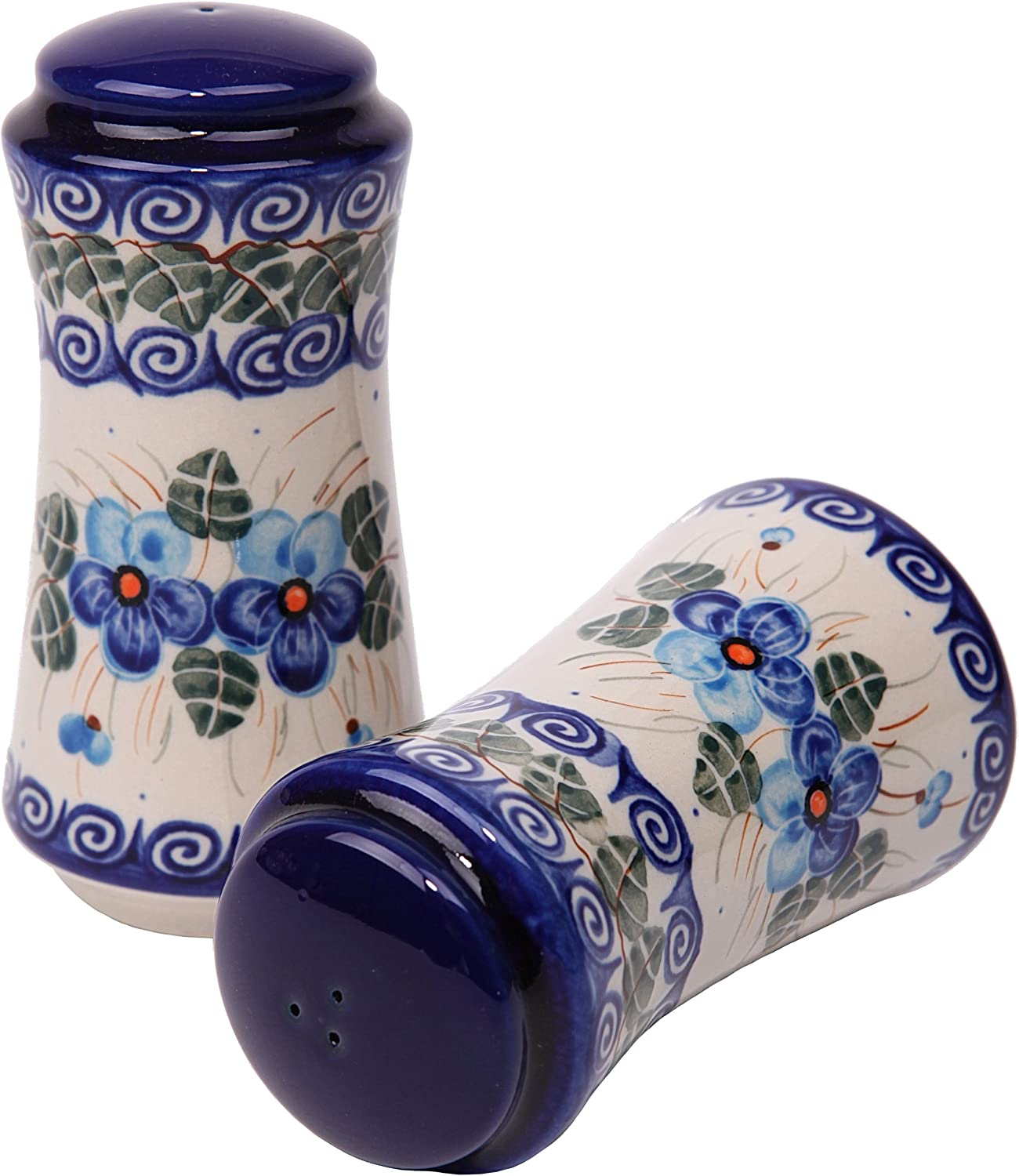 Polish Pottery Ceramika Boleslawiec, 1313/162, Salt and Pepper Milano, 4 3/4 by 2 1/4 Inches in Diameter - 9 Tablespoons Each, Royal Blue Patterns with Blue Pansy Flower Motif