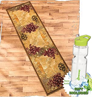 High Quality Gift Included  Vineyard Themed Decorative Kitchen Jute Accent Rug Runner  Area Carpet Decor + FREE