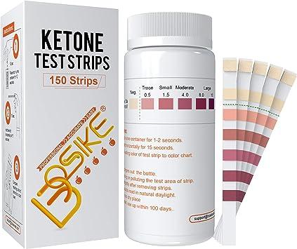 Tiras de prueba de cetona BOSIKE, kit de 150 tiras de medición de cetosis, medidor preciso y profesional de tiras de análisis de orina para bajar de ...