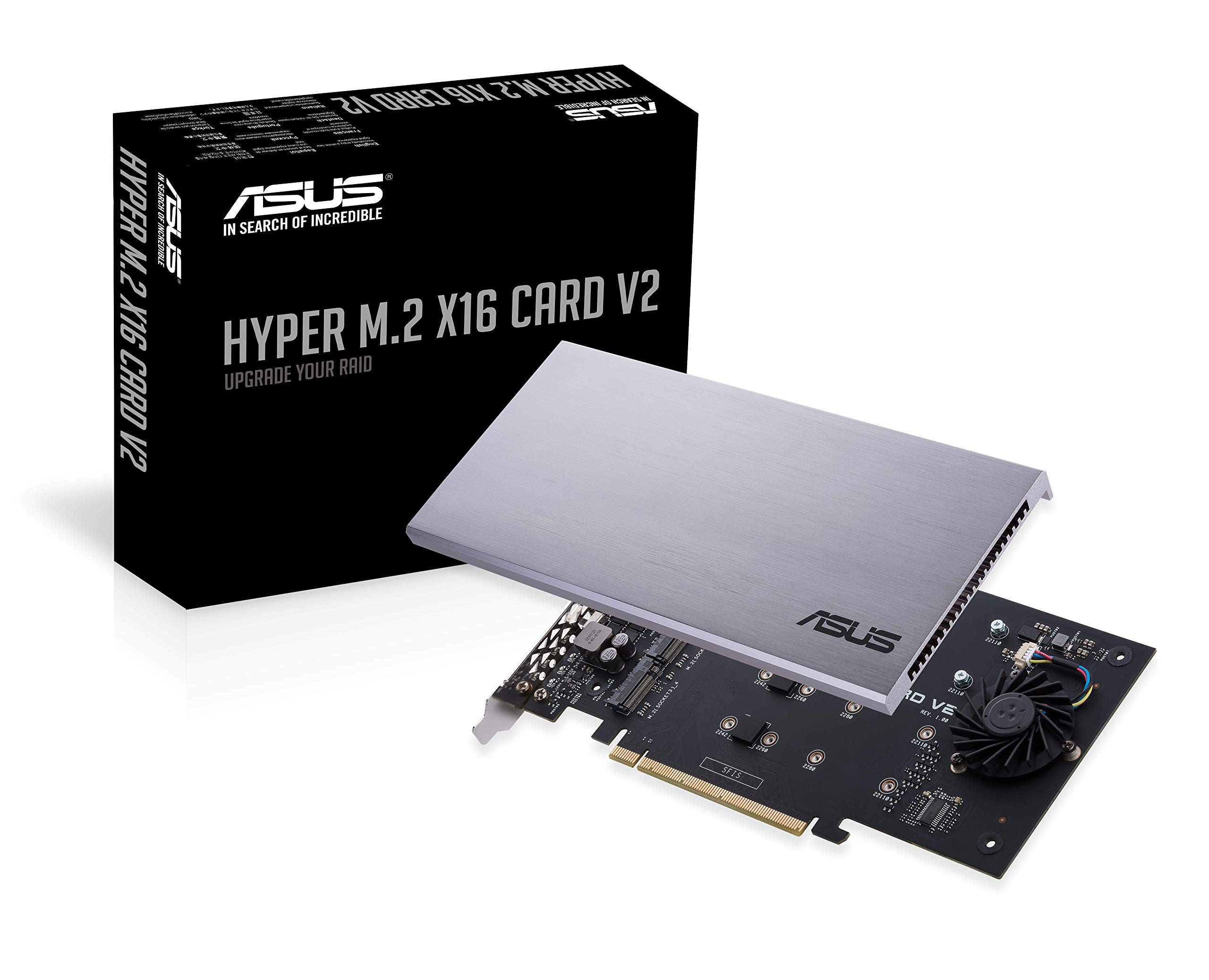 ASUS Hyper M.2 X16 PCIe 3.0 X4 Expansion Card V2 Supports 4 NVMe M.2 (2242/2260/2280/22110) Up to 128 Gbps for Intel VROC and AMD Ryzen Threadripper NVMe RAID by ASUS