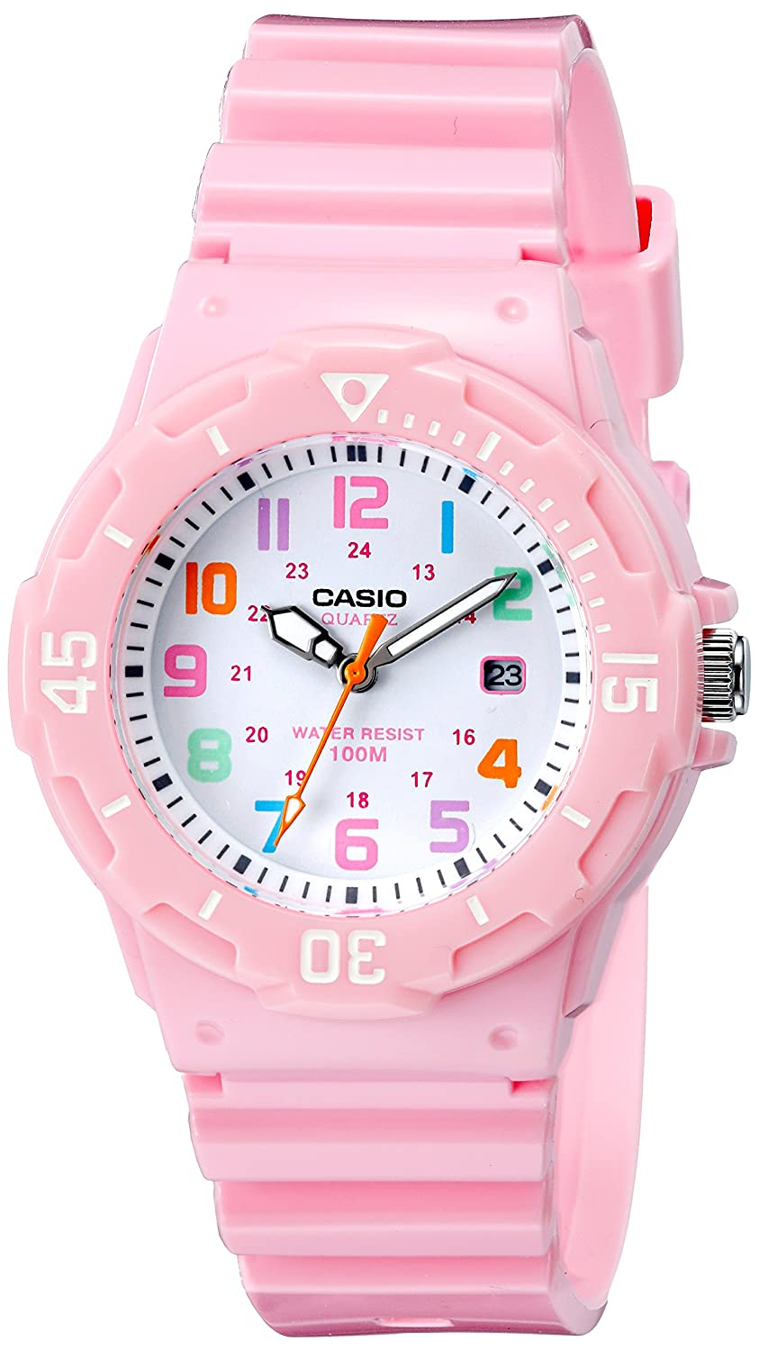 1ff6641a0691 Amazon.com  Casio Women s LRW-200H-4B2VCF Pink Stainless Steel Watch with  Resin Band  Casio  Watches