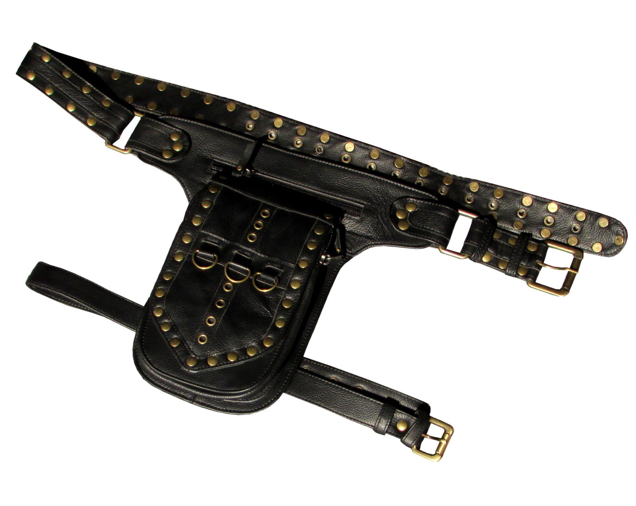 One Leaf Leather Leg Holster Utility Belt Thigh Bag (Black)