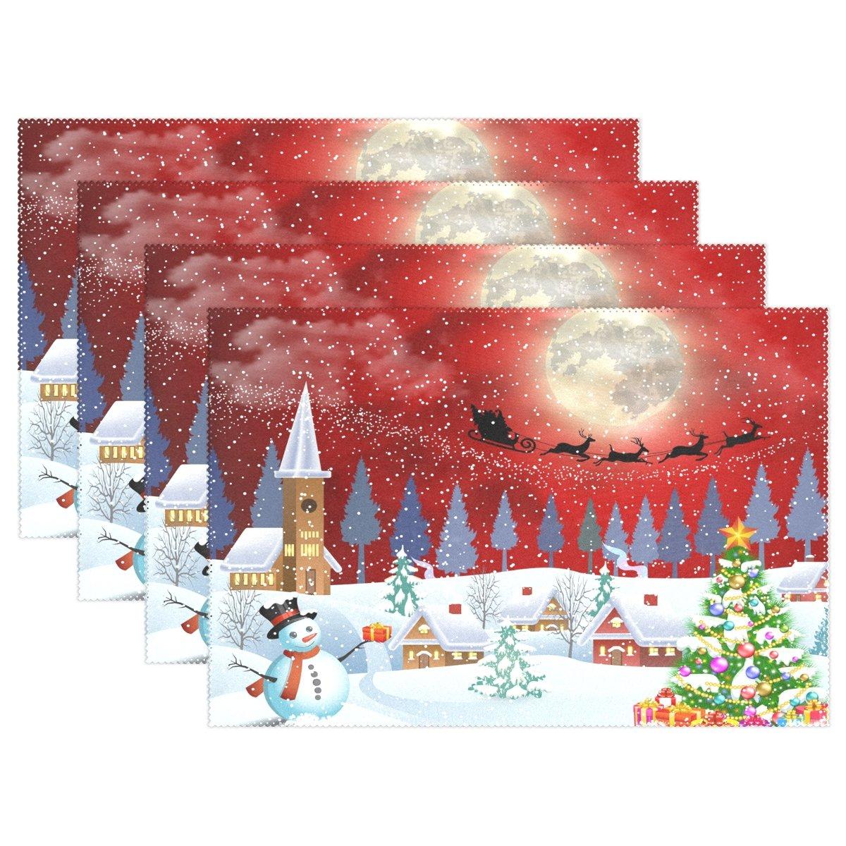 naanle冬Holdiayプレースマット、クリスマスツリー雪だるまサンタ句トナカイ耐熱Washableテーブルデコレーションを配置用マットキッチンダイニングテーブル 12*18inch 1376280p145c160s252 6 マルチカラー B075YWZXWM