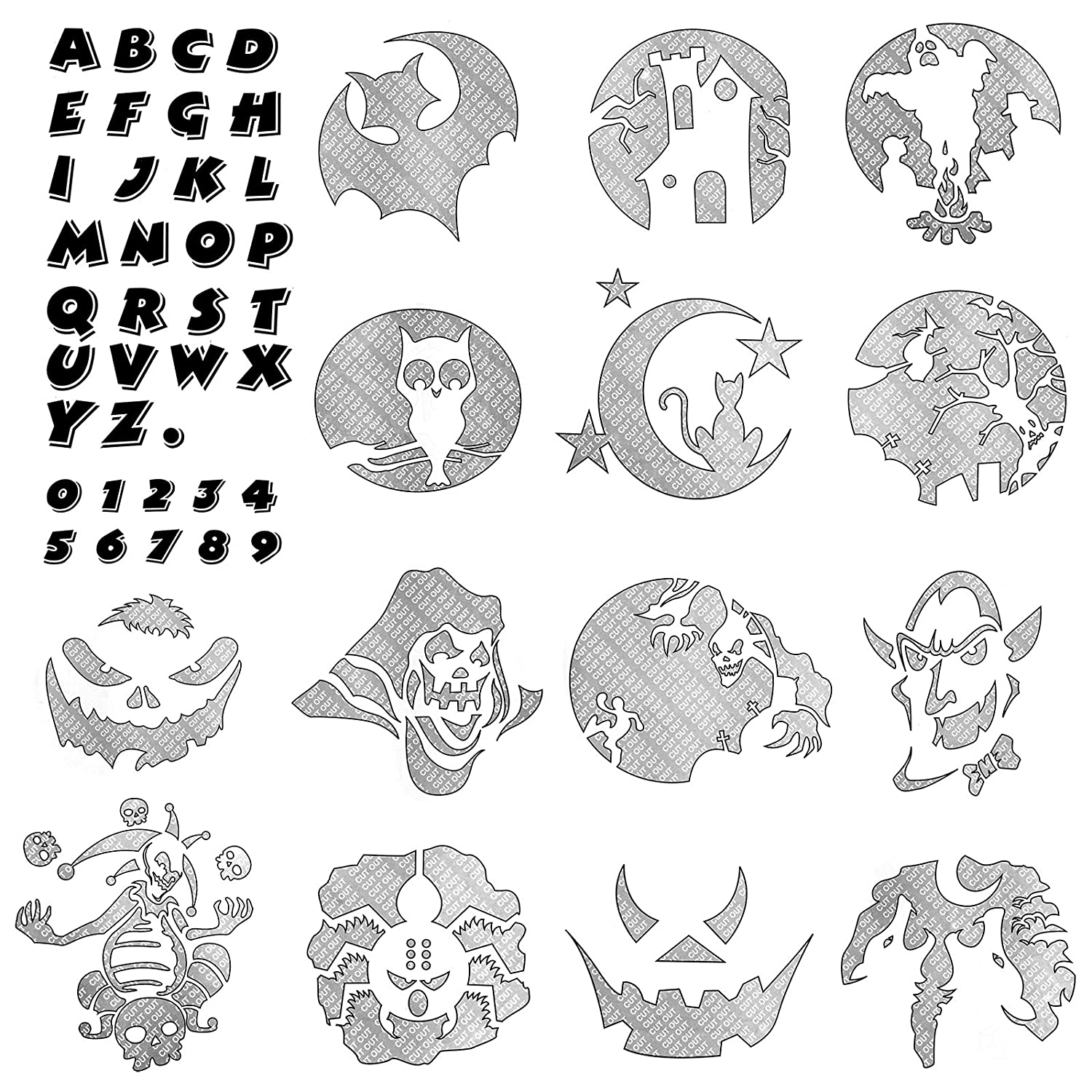 AMOS Halloween Pumpkin Carving Kit with 16 Stencil Designs + 5 ...
