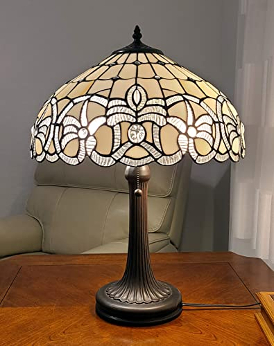 Amora Lighting Tiffany Style Table Lamp Banker 24″ Tall Stained Glass White Grey Jeweled Beads Vintage Antique Light D cor Living Room Bedroom Handmade Gift AM293TL16B