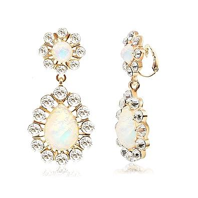 40370d8e0 T-Doreen Womens Elegant AB Crystal Teardrop Clip On Earring Dangle Earring  Gold Plated Prom