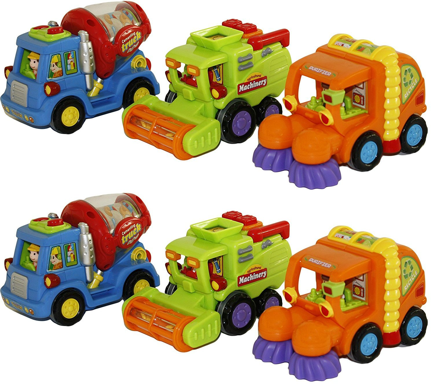 amazon com kids push and go friction car toy street sweeper