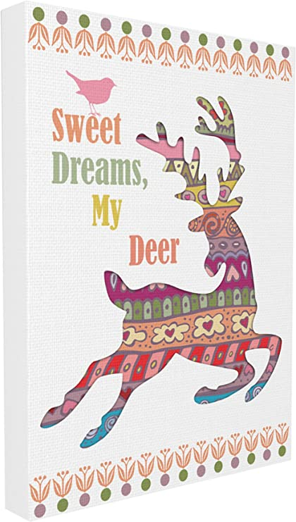 The Kids Room by Stupell Sweet Dreams My Deer Boho Graphic Canvas Art Proudly Made in USA 16 x 1.5 x 20