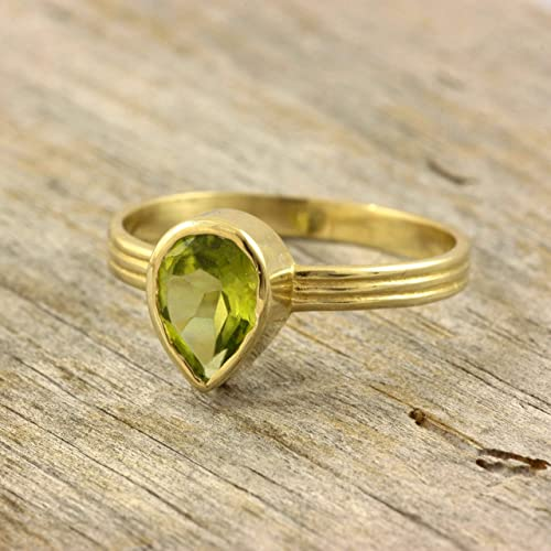 58ac46e37c Image Unavailable. Image not available for. Color: Pear cut peridot 14K  gold ring teardrop peridot green natural gemstone ...