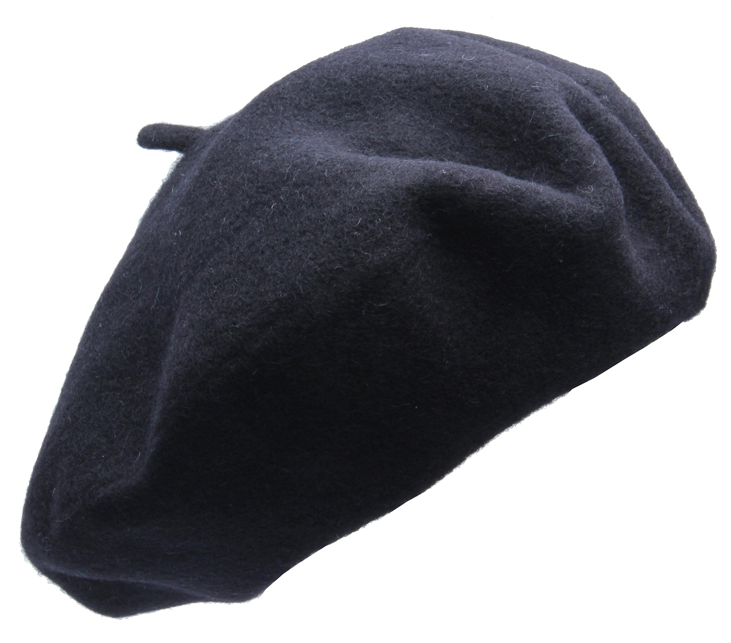 Beret hat Classic Solid Color 100% Wool soft warm Beret Beanie Hat Winter Autumn Fashion Caps (Black)