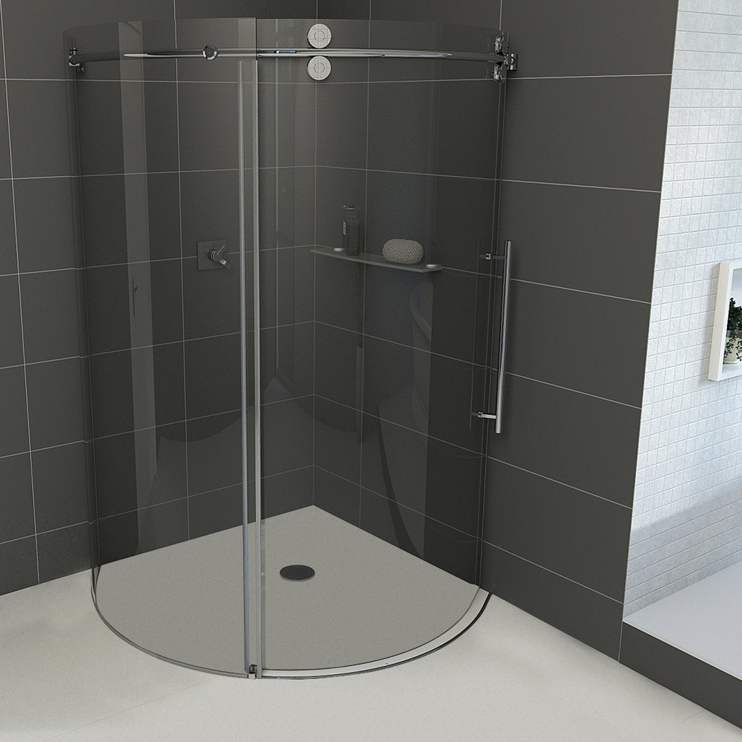 VIGO Sanibel 36 x 36-in. Frameless Round Sliding Shower Enclosure ...