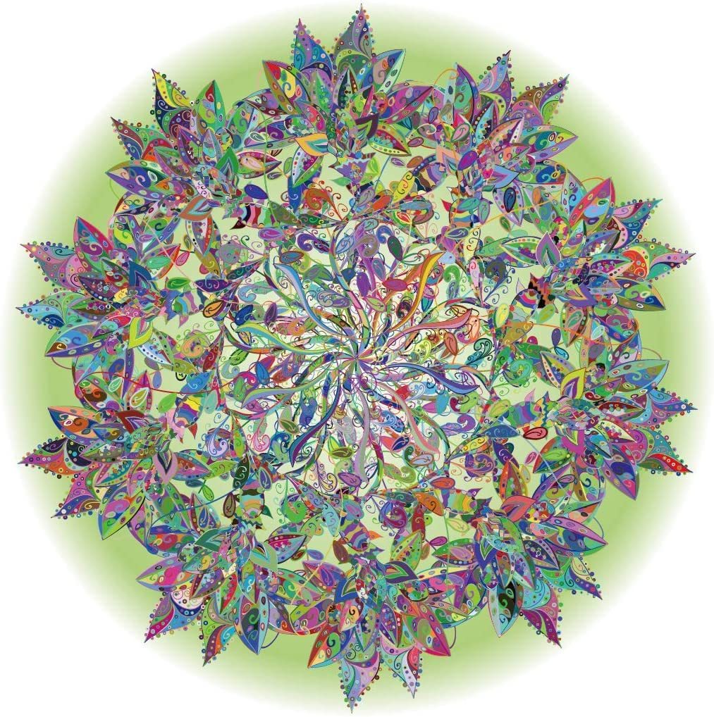 Bgraamiens Puzzle-Magic Tree of Life -1000 Pieces Colorful Leaves Round Mandala Puzzle Color Challenge Jigsaw Puzzles