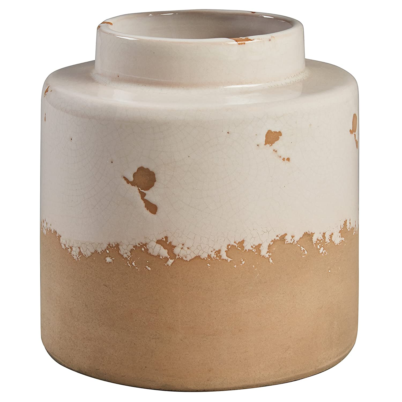 """Stone & Beam Modern Stoneware Vase, 6.3""""H, Cream and Clay"""