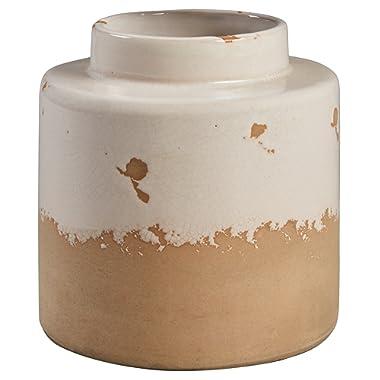Stone & Beam Modern Farmhouse Milk Jug Stoneware Home Decor Flower Vase - 6.25 x 5.75 Inches, Cream and Clay