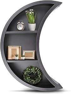 Black Moon Shelf - Wooden Floating Shelf Easy to Hang Stylish Moon Wall Decor for Bedroom Living Room Bathroom Nursery or Kitchen Display Shelf for Crystals or Books