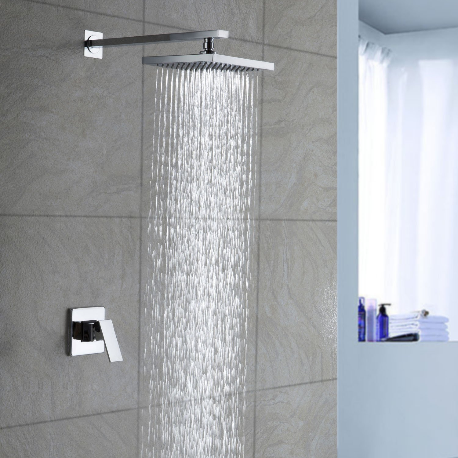 dp top shower amazon sprayer bathroom stainless steel rain head giantex rainfall square com
