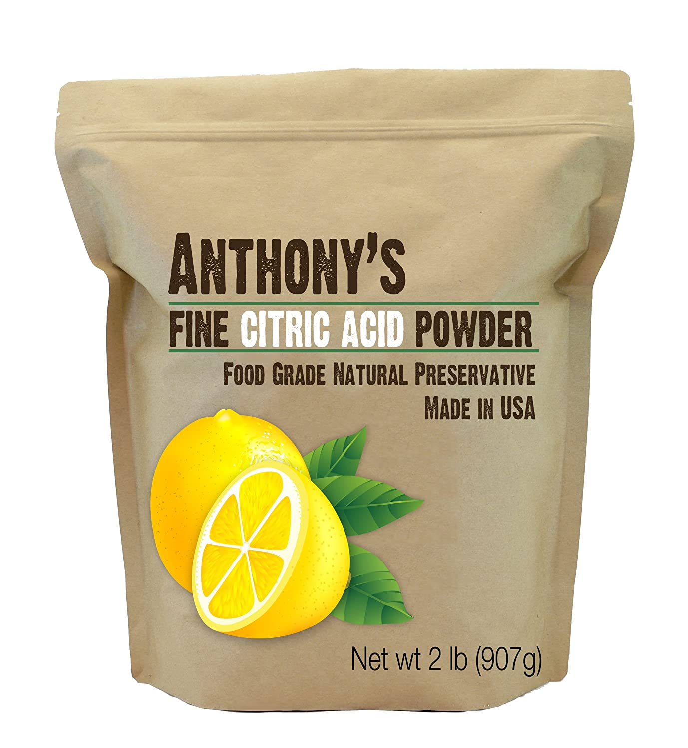 Anthony's Citric Acid Powder 2lb, Natural Preservative, 100% Pure Food Grade