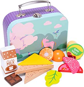 Mythical Unicorn Lunch Box Playset | Wood Eats! Pretend Play Food Toy | Includes Magical Fantasy Children's Accessory and Complete Nutritious Healthy Wooden Meal For Travel and Kitchen Fun | 12 Pieces