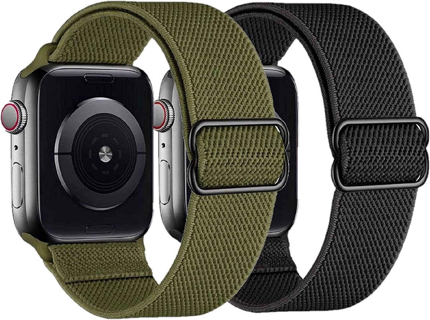 2 Pack Stretchy Straps Compatible with Apple Watch Bands 38mm 40mm 42mm 44mm, Adjustable Braided Solo Loop Nylon Bands Compatible for iwatch series 6/5/4/3/2/1/SE Men & Women