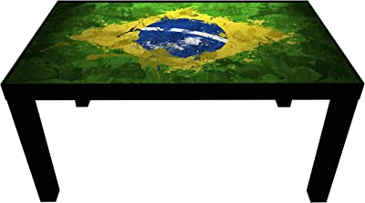 Probest Brasil Flag Coffee Table, Coffee Table, Pine Wood Coffee Table, Table, Interesting Coffee Table, Coffee & End Tables, Living Room Furniture Coffee Tables