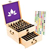 Amazon Price History for:Essential Oil Box - Wooden Storage Case With Handle. 91 Slots Hold Bottles & Roller Balls. 2 Tier Space Saver. Sealed Finish. Large Organizer Best For Keeping Your Oils Safe. Free EO Labels