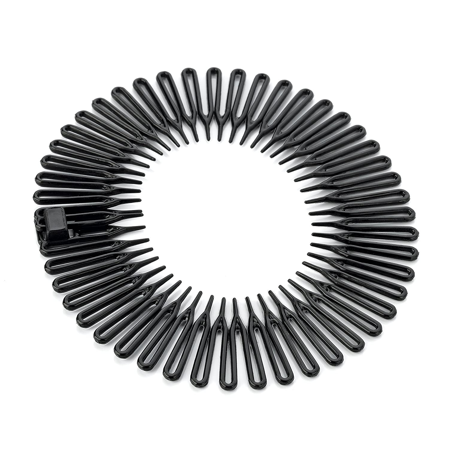 Pack of 1 Black Plastic Flexi Comb Zig Zag Sports Headband Hair Band