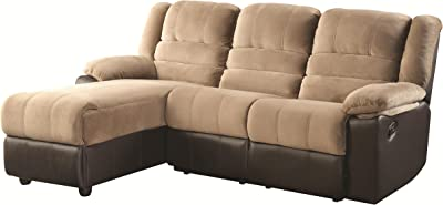 Huxley Two Tone Sectional Sofa with One Reclining Seat and Chaise Lounge