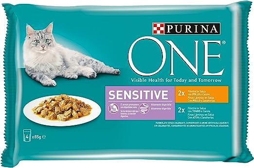 Purina One Comida Húmeda Para Gato, Filetes en Salsa Para una Digestión Sensible con Pollo, Atún y Zanahorias, 4 x 85 gr - Paquete de 12 piezas - Total: 4.08 kg: Amazon.es: Productos para mascotas