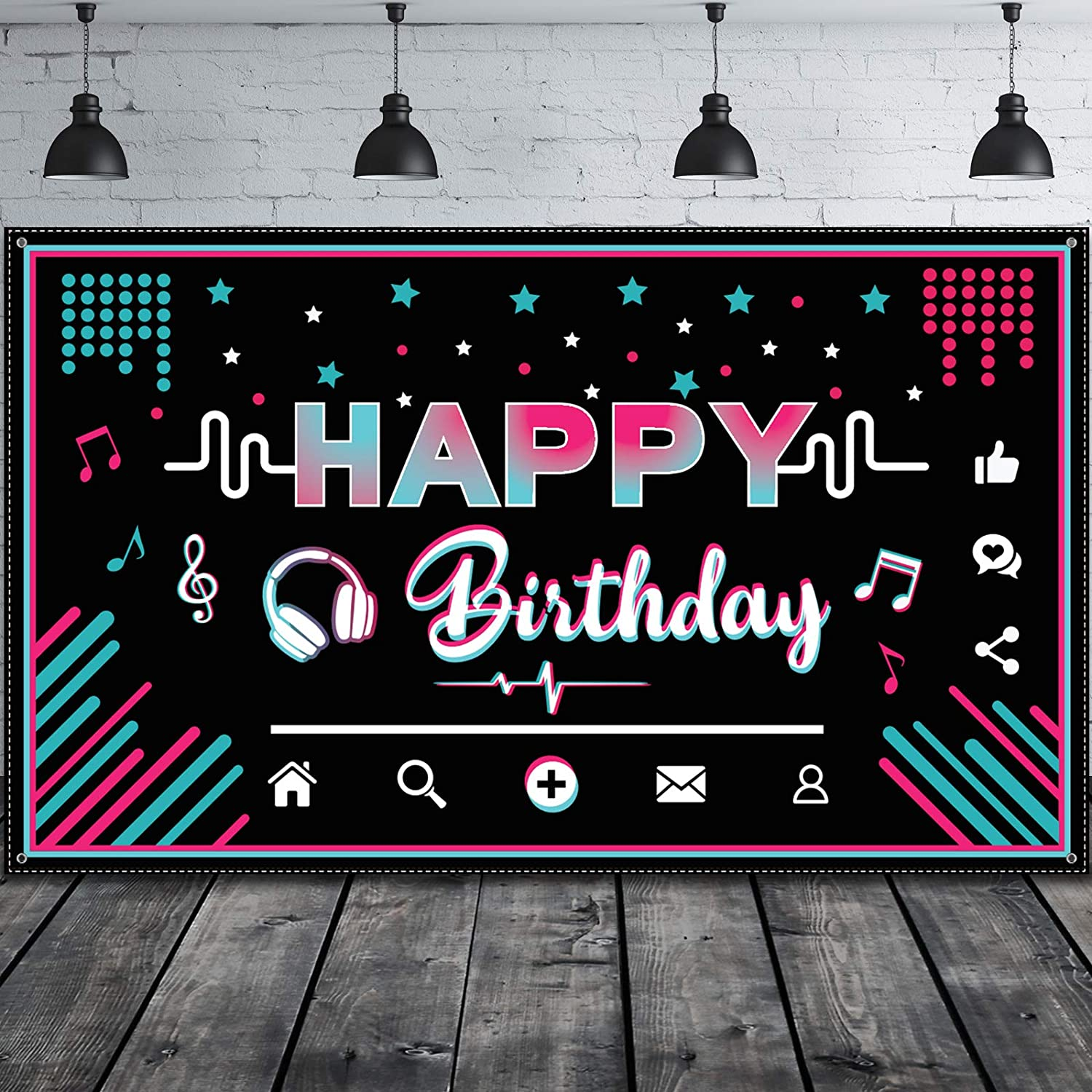 Happy Birthday Backdrop Large Fabric Music Party Background Photo Booth Banner Photography Party Decoration Supplies for Teens Social Media Theme Birthday Party, 73 x 43 Inches