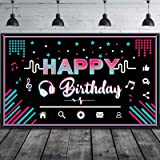 Happy Birthday Backdrop Large Fabric Music Party Background Photo Booth Banner Photography Party Decoration Supplies for Teen