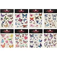 TOYANDONA 8 Sheet Butterfly Temporary Tattoo 3D Flower Face Sticker Body Art Decal Sheets for Girls Kids Women Christmas…