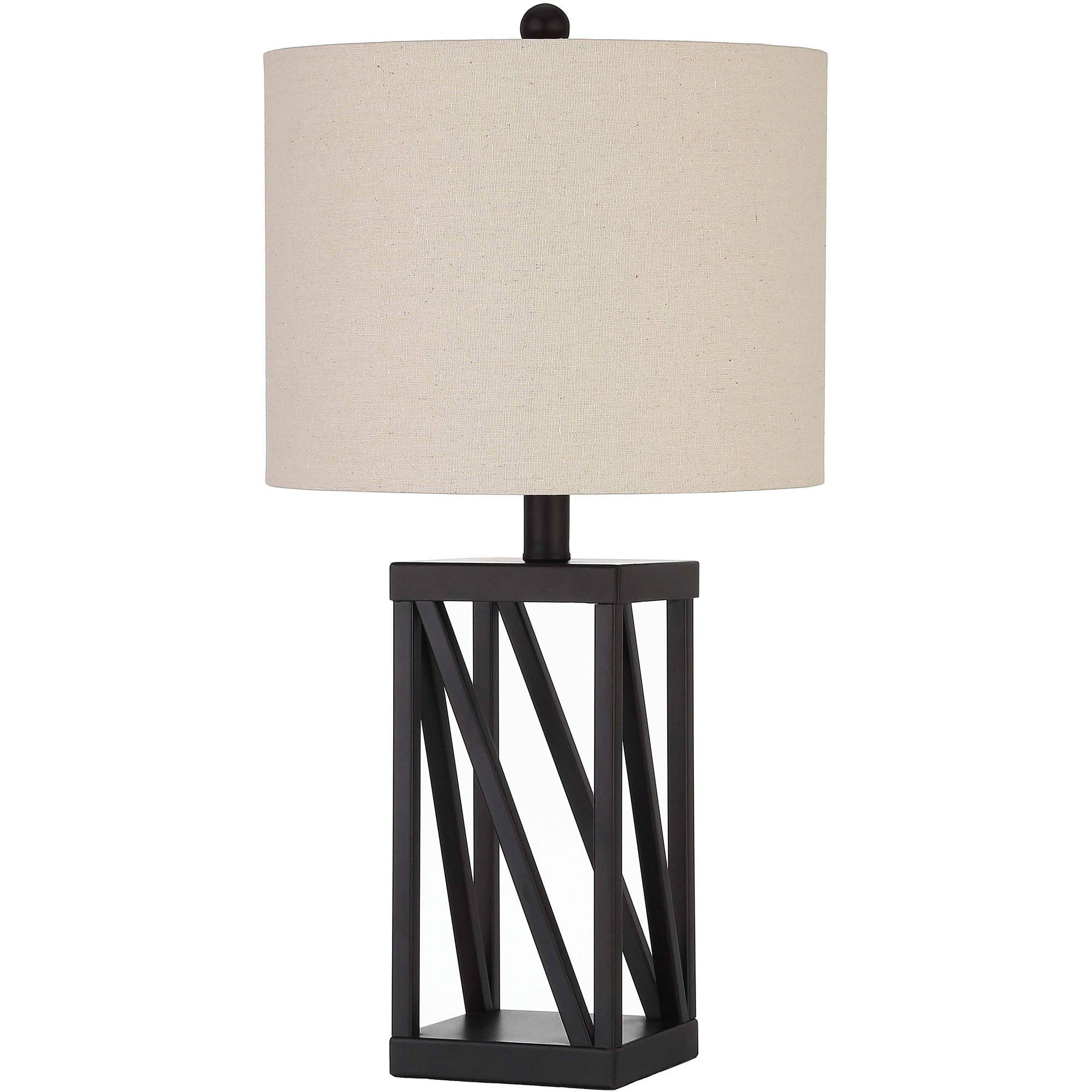 Bronze Cage Lamp Square Cage Table Lamp, Easy On/Off Switch , (Bulb Not Included)