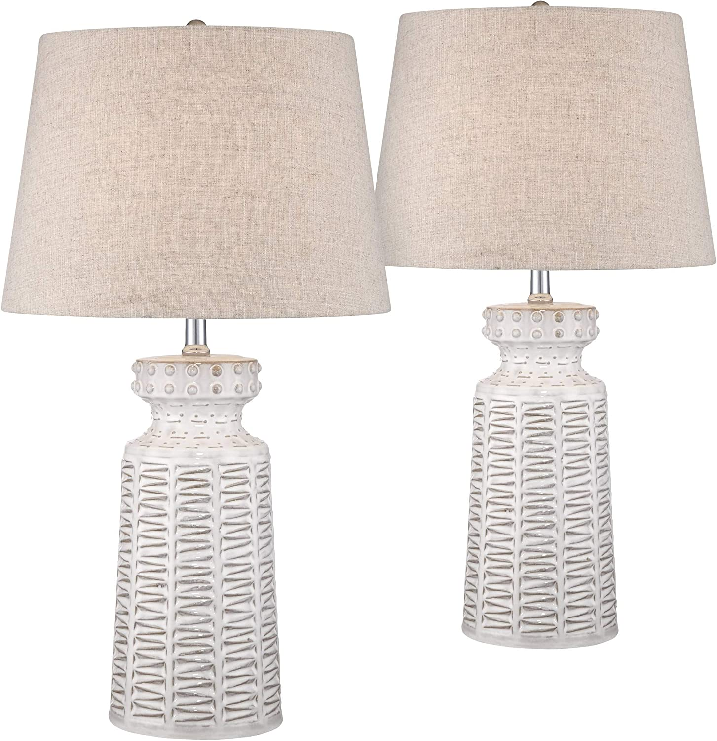 Helene Country Cottage Table Lamps Set of 2 Ceramic Rustic White Glaze Linen Shade for Living Room Family Bedroom Bedside - 360 Lighting