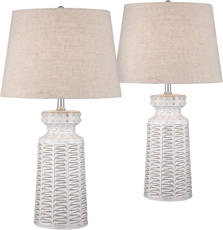 Helene Country Cottage Table Lamps Set of 2 Ceramic Rustic White Glaze Linen Shade for Living Room Family Bedroom Bedside - 360 Lighting