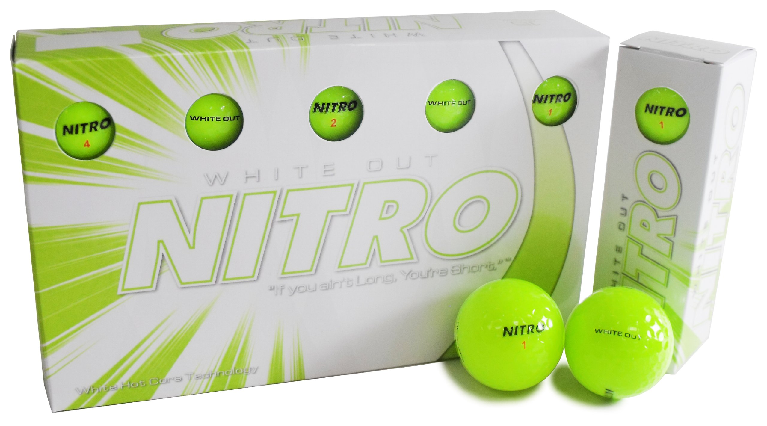 Nitro Long Distance Peak Performance Golf Balls (15PK) All Levels White Out 70 Compression High Velocity White Hot Core Long Distance Golf Balls USGA Approved-Total of 15-Yellow by Nitro