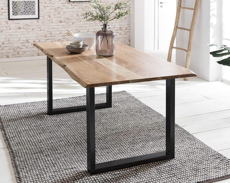 Baumkanten-Tisch Salito 46x46 cm  Esszimmertisch aus massiver Akazie   Baum-Tisch Natur  Metall U-Gestell in Silber