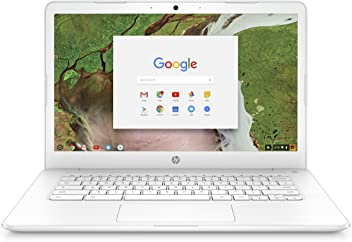 HP Chromebook 14-inch Laptop with 180-degree Hinge, Intel Celeron N3350 Processor, 4 GB RAM, 32 GB eMMC Storage, Chrome OS (14-ca050nr, White)